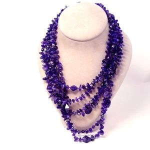 Jewelry - Amethyst Multi-Strand Waterfall Necklace 275.9g